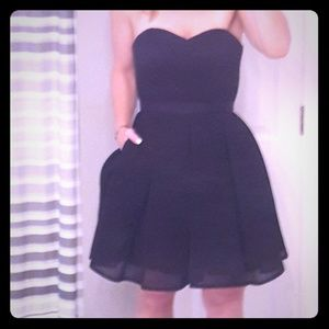 Black Aqua cocktail dress with sweetheart neckline